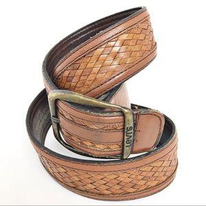 LEVI'S | Genuine Leather Braided Cognac Brown Belt
